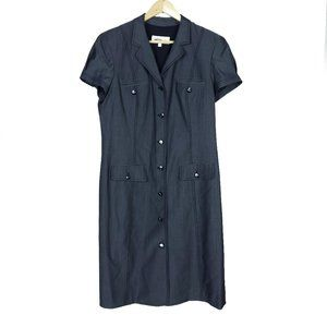 Worth Gray Button Down Pockets Wool Gray Dress
